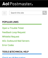 AOL Postmaster Pages