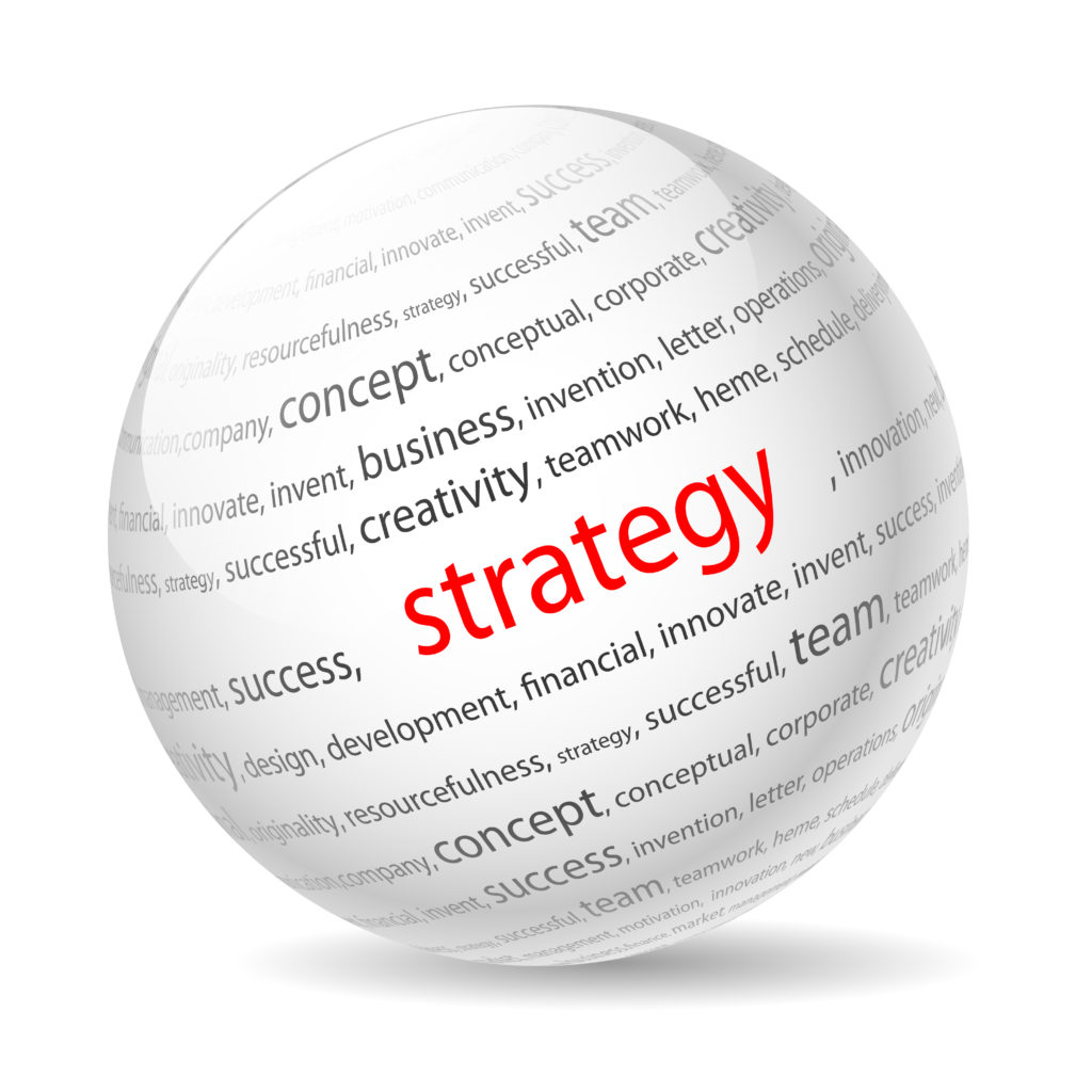 """picture of a globe with the word """"strategy"""" written n red on it"""