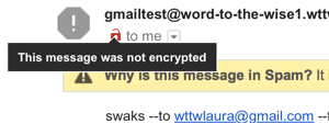 "Hover showing ""message not encrypted"""