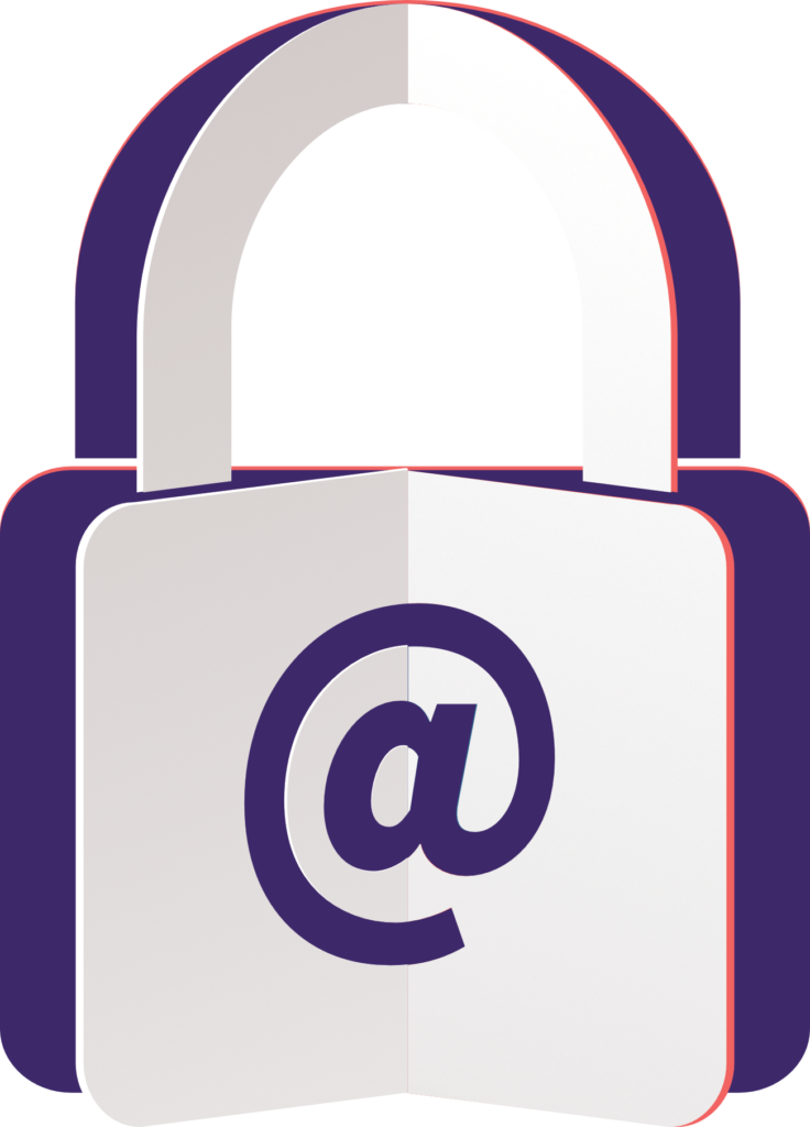 icon of a padlock with an at sign on it