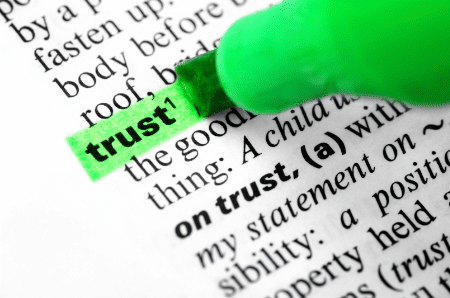 "picture of a dictionary page with the word ""trust"" highlighted"