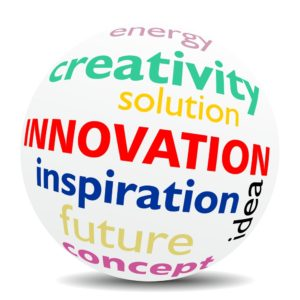 A globe with the words innovation, creativity, inspiration and idea written on it.