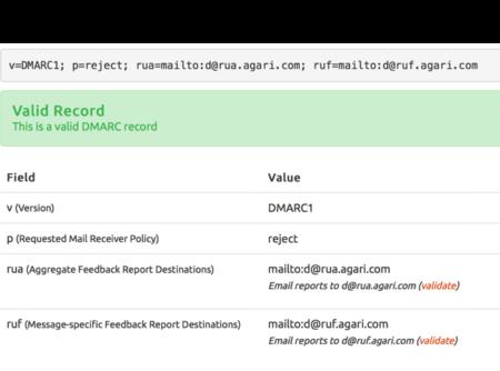 A screenshot of a DMARC record v=DMARC1\; p=reject\; rua=mailto:d@rua.agari.com\; ruf=mailto:d@ruf.agari.com