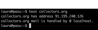 Screenshot of a terminal session that says:  laura@pazu:~$ host collectors.org collectors.org has address 91.195.240.126 collectors.org mail is handled by 0 localhost.