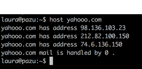 screenshot of a terminal session that says:  laura@pazu:~$ host yahooo.com yahooo.com has address 98.136.103.23 yahooo.com has address 212.82.100.150 yahooo.com has address 74.6.136.150 yahooo.com mail is handled by 0 .